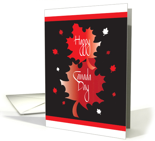 Canada Day with Stacked and Overlapping Red Maple Leaves card