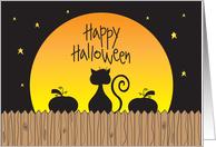 Happy Halloween, Cat and Pumpkin Silhouettes in Full Moon card