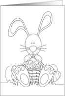 Some Bunny Easter Coloring Card, Bunny with Easter Eggs card