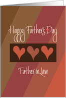 Father's Day to Father in Law, Heart Trio on Earthtone Diagonals card