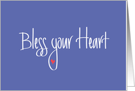 Bless your Heart, Thank You, Hand lettering & Heart on Lavender card