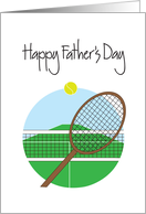 Father's Day for Tennis Player, Racquet and Tennis Ball with Net card