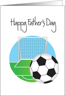 Father's Day for Soccer Player or Fan, Soccer Field and Goal card