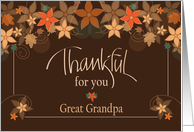 Thanksgiving Blessings for Great Grandpa, Pumpkins & Fall Leaves card