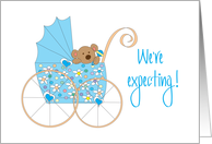We're expecting Announcement for Boy, Bear in Blue Floral Stroller card