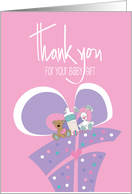 Thank you for the Baby Gift, Pink Polka Dot Gift with Rattle card
