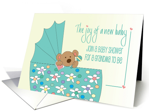 Baby Shower Invitation for Grandma to Be, Toasting Baby Bottles card