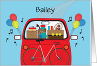 Off to College with Custom Name, Stuffed Red Car with Balloons card