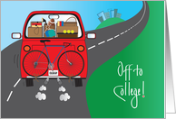 Off to College for Student, Red Car filled with Bike & Belongings card