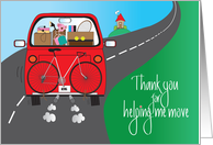 Thank you for Helping with Move, For Girl, Red Car with Boxes card