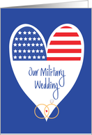 Military Wedding Invitation, Stars and Stripes with Wedding Rings card