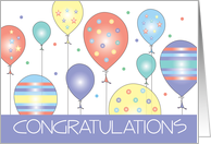 Congratulations with Colorful Patterned Balloon Cluster card