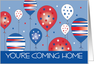 Military You're Coming Home, Red, White and Blue Star Balloons card