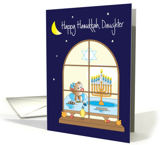 Hanukkah for Daughter, Bear with Bow Admiring Menorah card (1294922)