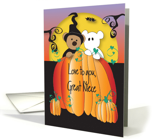 Halloween for Great Niece, Pumpkin Witch and Goblin Bears card