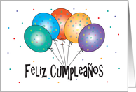 Feliz Cumpleaños con globos, Birthday card in Spanish card