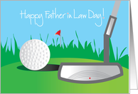 Father in Law Day, for golfer with golf putter & golf ball on green card