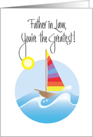 Father in Law Day, for sailor with sailboat on ocean wave card