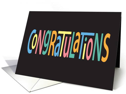 Congratulations, Bright Colored Letters on Black card (1313476)