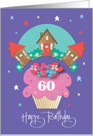 60th Birthday for Neighbor, Cupcake with Trio of Cottages card