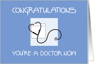 Congratulations to Doctor for New Job, Stethoscope on Blue card