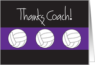 Thanks Coach, for Volleyball Coach, Purple and Black card