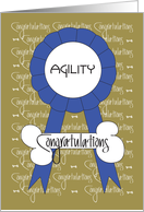 Congratulations for Dog Show Agility Award With Blue Ribbon card