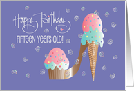 Birthday for 15 Year Old, Cupcake & Ice Cream Stiletto High Heel Shoe card