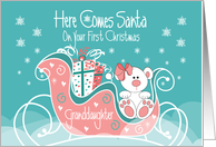 First Christmas for Granddaughter, Here Comes Santa Polar Bear card