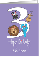 Third Birthday for Three Year Old, with Custom Name and Zoo Animals card