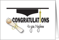 Graduation for Nephew, Mortarboard Hat, Tassel and Diploma card