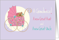 New Grandniece, For Great Aunt & Great Uncle, Bear in Stroller card