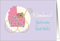 Becoming a Great Uncle for Grandniece, Bear in Stroller card