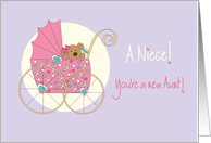 Becoming an Aunt for new Niece, Bear in Pink Floral Stroller card