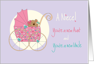 Becoming an Aunt & Uncle for new Niece, Bear in Stroller card