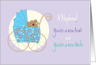 Becoming an Aunt & Uncle for new Nephew, Bear in Stroller card