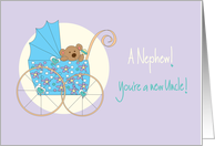 Becoming an Uncle to new baby Nephew, Bear in Blue Stroller card