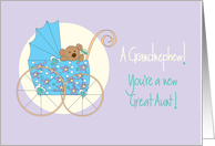 Becoming a Great Aunt to Grandnephew, Bear in Blue Stroller card