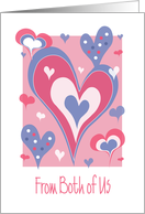 Valentine's Day from Both of Us, Dancing Pink & Lavender Hearts card