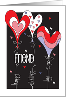 Valentine's Day to BFF, Wavy Pink and Lavender Hearts card