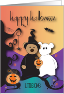 Halloween for Kids, Trick or Treat Witch and Goblin Bears in Moonlight card