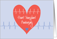 Heart Transplant Anniversary, with Heart and Heart Waves card