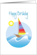 Birthday with Striped Colorful Sailboat, Rolling Waves & Sun card
