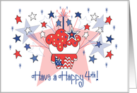 4th of July for Kids, Red, White and Blue Cupcake with Stars card