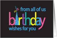 Birthday Wishes for you from all of us with Colorful Party Hat card
