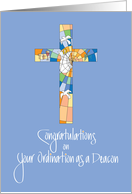 Congratulations Ordination as Deacon, with Stained Glass Cross card