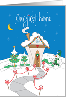 Holiday 1st Home Announcement, Decorated Cottage & Snowman card