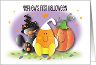 1st Halloween for Nephew, Black Kitty, Pumpkin and Candy Corn card