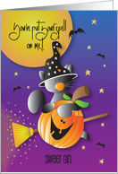 Halloween for Kids, Flying Black Kitty by Moon with Pumpkin card