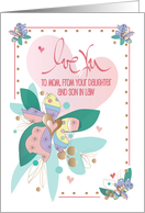 Mother's Day Mother, from Daughter & Son in Law, with Hearts card